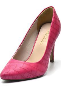Scarpin Flor Da Pele Bico Fino Croco Pink