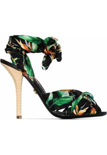Dolce & Gabbana Sandália Com Estampa De Selva E Salto 105Mm - Verde