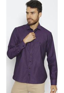 Camisa Slim Fit Maquinetada - Roxa & Pretavip Reserva