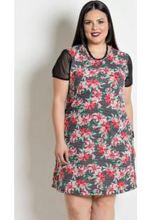 Vestido Com Transparência Plus Size Floral