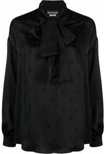 Boutique Moschino Pussy-Bow Bird Pattern Blouse - Preto
