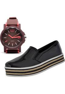 Tênis Slip On Mais Relógio Ousy Shoes Alpargatas Flatform Preto