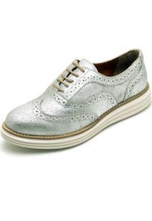 Sapato Social Top Franca Shoes Oxford Camurca Prata