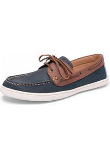 Sapatênis Dockside Rockfoot Sardenha Couro Jeans E Pinhão