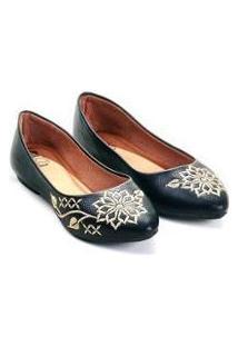 Sapatilha Floter Mizzi Shoes Bordado Mandala Feminina - Feminino-Preto