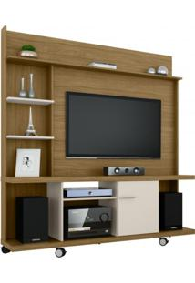 Estante Home Para Tv Até 47 Polegadas 1 Porta Basculante Taurus Móveis Bechara Cinamomo/Off White