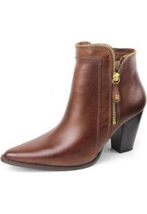 Ankle Boot Couro Sapatofran Perlatto Feminina - Feminino