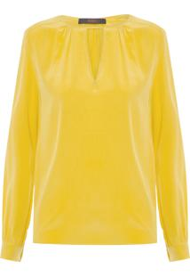 Camisa Feminina Decote V - Amarelo