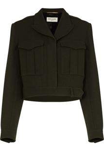 Saint Laurent Jaqueta Militar Cropped - Verde