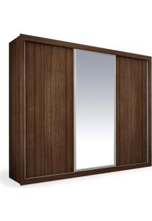 Armário 3 Portas De Correr Com Espelho, Ipê, Premium Plus 2,46M