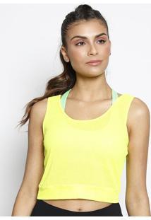 Blusa Cropped Com Microfuros - Amarelo Neon - Patrapatra