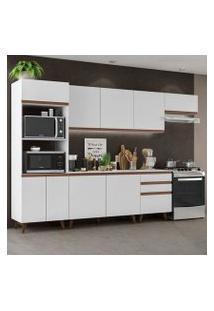 Cozinha Completa Madesa Reims 320001 Com Armário E Balcão Branco Cor:Branco