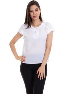 Blusa Crepe Manga Renda Feminino - Feminino-Branco