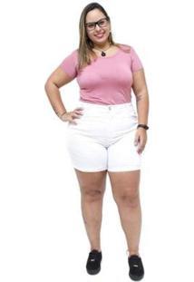 Shorts Jeans Feminino Xtra Charmy Plus Size Celizara - Feminino-Branco