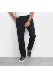 Calça De Sarja Slim Foxton Bolso Faca Masculina - Masculino-Preto