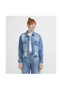 Jaqueta Cropped Jeans Com Puídos E Barra Desfiada