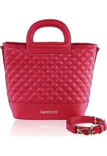 Bucket Bag Campezzo Couro Vermelho Lassie - Vermelho - Feminino - Dafiti