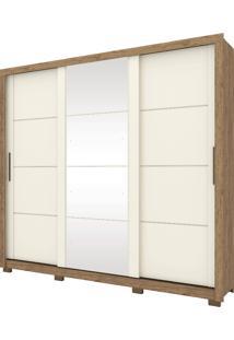 Guarda Roupa De Casal 3 Portas Payson-Henn - Rustico / Off White