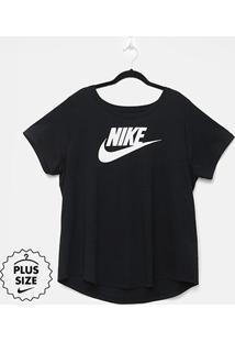 Camiseta Plus Size Nike Nsw Futura Feminina - Feminino-Preto+Branco