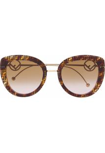Fendi Eyewear Óculos De Sol Oversized Com Estampa Ff - Marrom