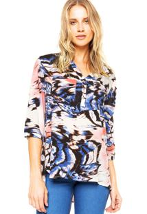 Camisa Holin Stone Animal Print Branca/Azul