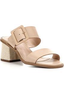 Sandália Shoestock Salto Bloco Fivela Feminina - Feminino-Bege