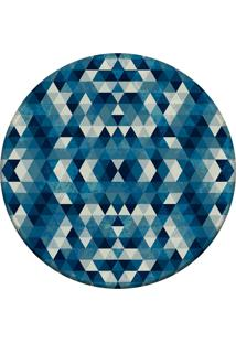 Tapete Love Decor Redondo Wevans Abstrato Azul 94Cm