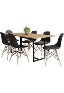 Mesa De Jantar Retangular Industrial 6 Cadeiras Eames Indy F02 Nature/