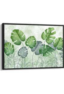 Quadro 60X90Cm Costela De Adão Folhas Verdes Canvas Moldura Flutuante Preta