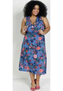 Vestido Midi Floral Azul Com Amarração Plus Size