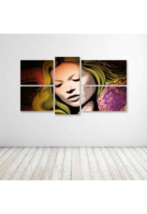 Quadro Decorativo - Face Pop Art - Composto De 5 Quadros