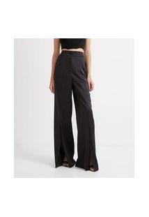 Calça Pantalona Em Cetim Com Bolsos E Fendas Frontais | Blue Steel | Preto | P