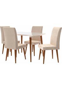 Conjunto Mesa De Jantar Jade C/ 4 Cadeiras 1,20X0,90 Pés Palito White Rv Móveis