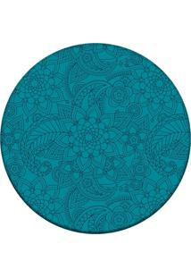 Tapete Love Decor Redondo Wevans Flor Azul 84Cm