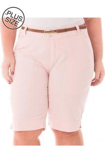 Bermuda Jeans Plus Size Confidencial Extra Casual De Alfaiataria Rosa