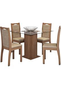 Sala De Jantar Sophia 100Cm Com 4 Cadeiras Savana Sued Marfim