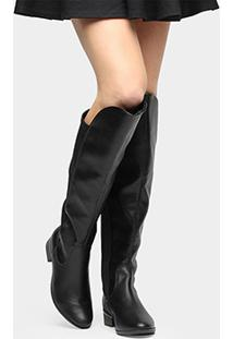 Bota Couro Over The Knee Comfortflex Flat Salto Baixo Feminina - Feminino-Preto