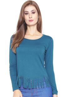 Blusa Estilo Boutique Viscolycra Com Franjas Azul