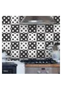 Adesivo De Azulejo Bolinhas Preto E Branco 10X10Cm