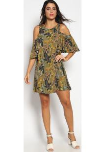 7dd1e21ff R$ 142,99. Privalia Vestido Floral Com Ombros Vazados- Verde & Amarelo-  Colcci