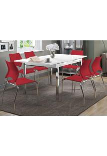 Mesa Extensível 1541 Branca Cromada Com 6 Cadeiras 357 Vermelho Carraro
