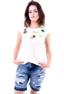 Blusa Gup'S Jeans Patches Branca