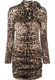 a7e56b3a2f41f ... Dolce   Gabbana Vestido Com Estampa De Oncinha - Marrom