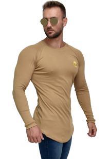Camiseta Ribana Manga Longa Dalcomuni Com Logo Bordada Dourada