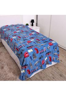 Cobertor Solteiro Kids 1,50X2,20M Flannel Andreza Azul