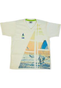 T-Shirt Lápis De Cor Em Malha Off White