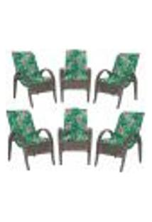 Cadeiras 6Un P/ Jardim Lazer Edicula Varanda Descanso Fibra E Tramas Napoli Plus Pedra Ferro A01
