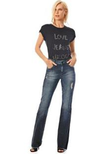 Calça Morena Rosa Boot Cut Carol Cós Intermediário Reserva Lateral Jeans Feminina - Feminino