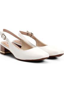 Scarpin Dakota Salto Baixo Chanel Básico - Feminino-Branco