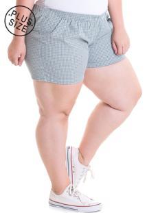 Short Konciny Plus Size Tecido Anarruga 51932 Xadrez Verde